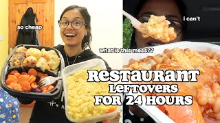 i survived on restaurant leftovers for 24 hours *super cheap food* | clickfortaz