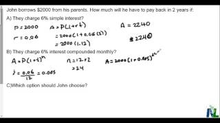 Simple vs compound interest for a loan