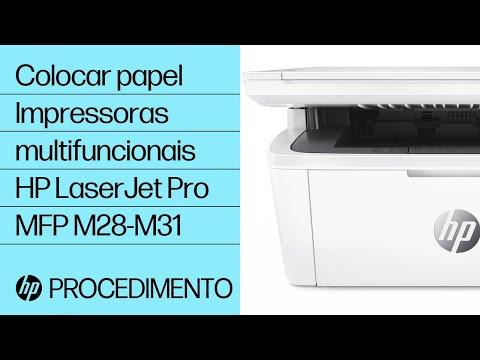 Como colocar papel nas impressoras multifuncionais HP LaserJet Pro MFP M28-M31