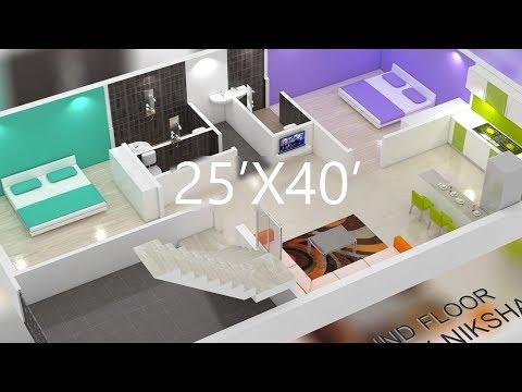 25X40 house plan | Interior design - смотреть онлайн на Hah Life