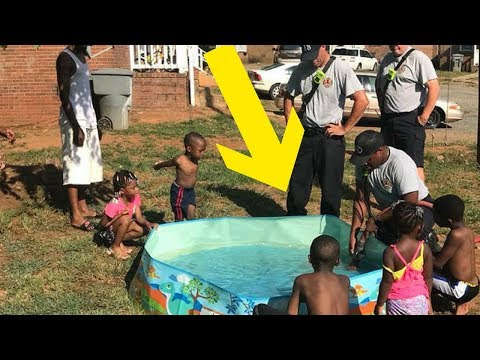 Firefighters Stop To Help Kids Trying To Fill Pool Using Pots & Pans