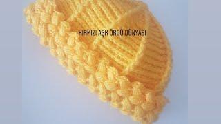 Tığ Işi Etrafı Fıstıklı Bere/ Crocheted Beanie
