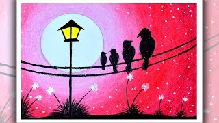 How To Draw Scenery Of Moonlight ฟร ว ด โอออนไลน ด ท ว ออนไลน