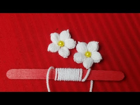 Hand Embroidery:Making Unique White Flower With Ice Cream Stick/Amazing New Trick#Sewing Hack Part14