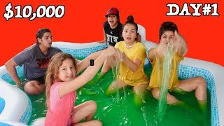 LAST TO LEAVE SLIME POOL WINS $10,000.00 DOLLAR DAY#1 | SISTER FOREVER