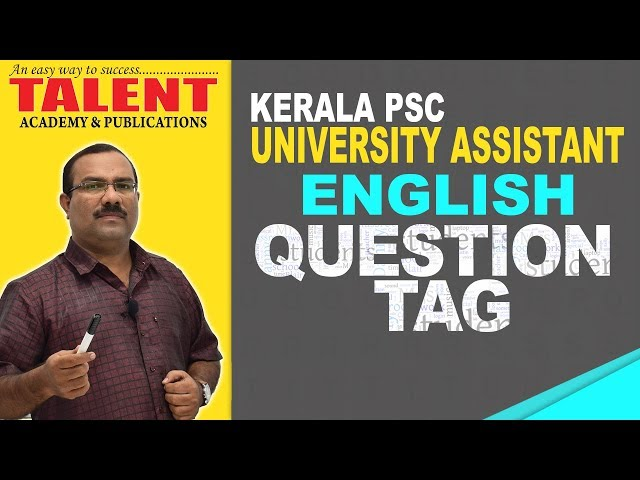 Kerala PSC English Grammar Class - Question Tag | University Assistant