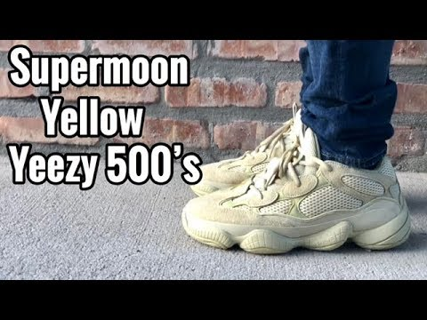 "1bb714cfacfc adidas Yeezy 500 ""Supermoon Yellow"" on feet - iAmTMCII - Video ..."
