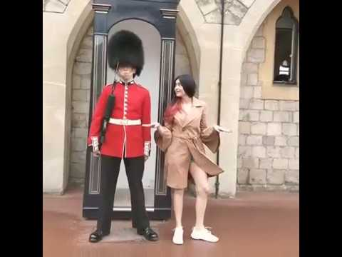 Girl messing with Queen's Guard, see what happend next!