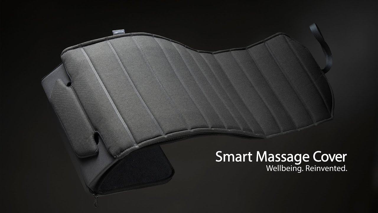 """Preview: Faurecia Smart Massage Cover, massage-car-seat-cover with smart app control and integrated battery, certified by """"Aktion Gesunder Rücken"""" (Healthy Back Campaign)"""