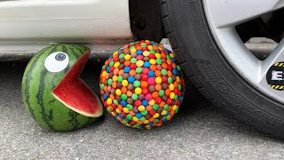 Experiment Car vs Pacman Watermelon and M&M Ball | Crushing crunchy & soft things by car | Test Ex