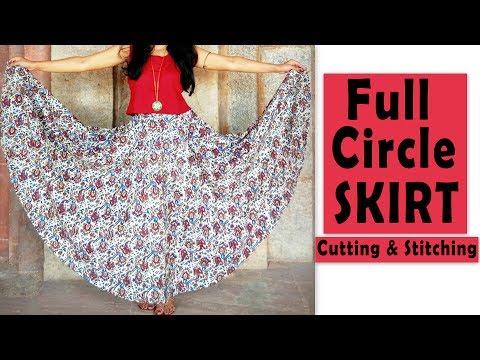 Full Circle Skirt Cutting & Stitching | Full Flared Skirt Tutorial