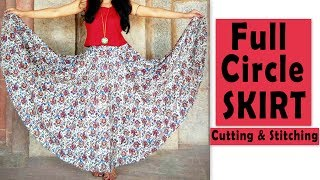 Full Circle Skirt Cutting & Stitching | Full Flared Skirt Tutorial