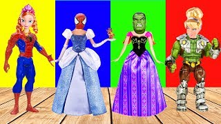 Wrong Heads Spiderman Hulk Frozen Elsa and Anna Finger Family Song Nursery Rhymes for Kids Fun Lido
