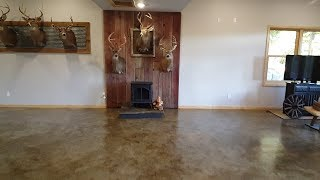 DIY Man Cave On A Budget-concrete Stain & Rustic, Low Cost Touches