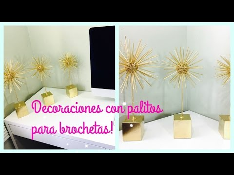 MANUALIDADES CON PALITOS DE MADERA(BROCHETA) | HOW TO MAKE A SUNBURST DECORATION! | Ash+LesTv