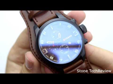 Unboxing XLORDX Curren Herren Armbanduhr Chronograph Datum Blau Glas Leder Braun