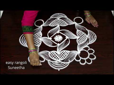 Beautiful kolam with 9 dots by easy rangoli Suneetha - new year muggulu for 2019