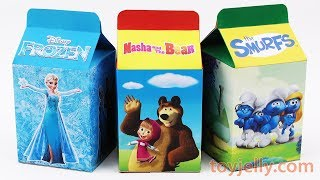 Unboxing Handmade Milk Carton Toys Learn Colors FROZEN Masha and The Bear SMURFS Nursery Rhymes