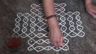 Daily rangoli/9 to 5 straight dots rangoli/Simple Easy Rangoli design/  sikku(balli) rangoli