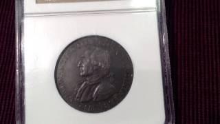 Rare 1792 Washington Born Virginia 1 Cent Coin