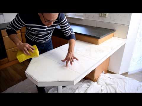 Küchentresen , Küchentheke mit Fliesen umgestalten Küchenrenovierung Teil 14
