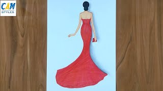 How To Draw A Girl With Beautiful Dress / Fashion Illustration Art / Fashion Design