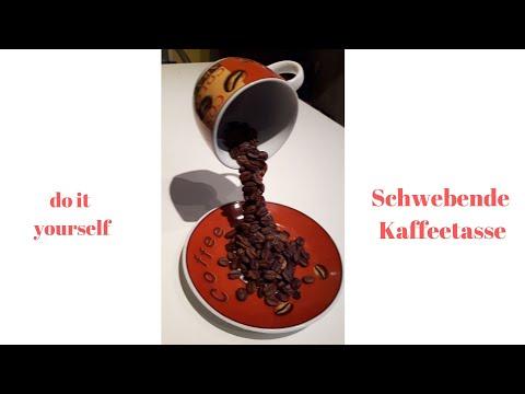 DIY, schwebende Kaffeetasse mit Kaffeebohnen