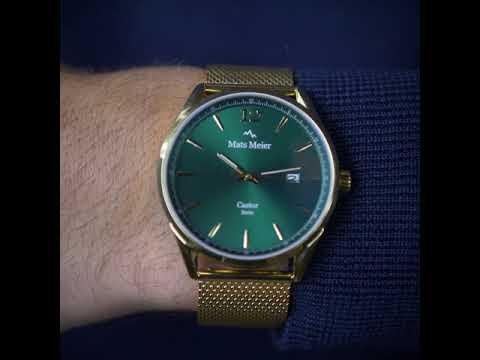 Mats Meier Castor herenhorloge groen / goudkleurig mesh
