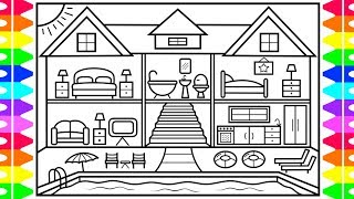 How to Draw a House with a Swimming Pool ❤️💜💚💙House with a Pool Drawing and Coloring Page