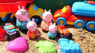Пеппа, Вспыш и чудо машинки в песочнице - Игрушки для детей