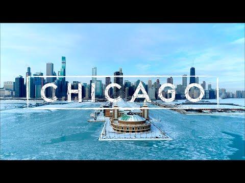 סרטון שמציג את שיקגו הקפואה בחורף ב-4K