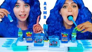 ASMR BLUE DESSERTS NIK-L-NIP WAX BOTTLE, JELLO SHOOTER, GUMMY ICE CREAM | EATING SOUNDS 먹방