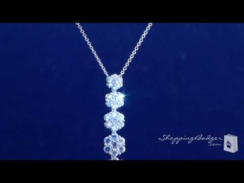 sterling silver flower cluster CZ journey pendant necklace