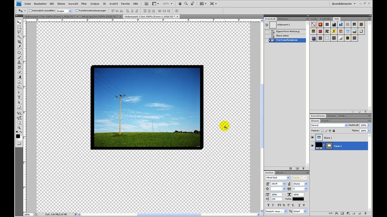 Rechteck mit 2 runden und 2 eckigen Kanten erstellen – Photoshop-Tutorial