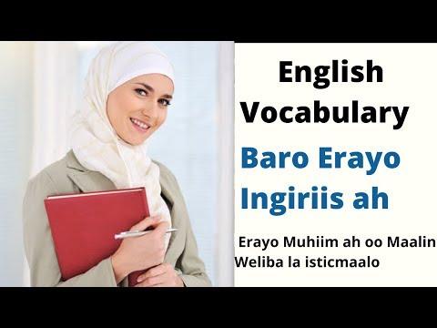 Baro Erayo Luuqada Ingiriiska ah: Vocabulary Part 7: Qaybtii 7-aad.