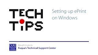 Setting up ePrint on Windows