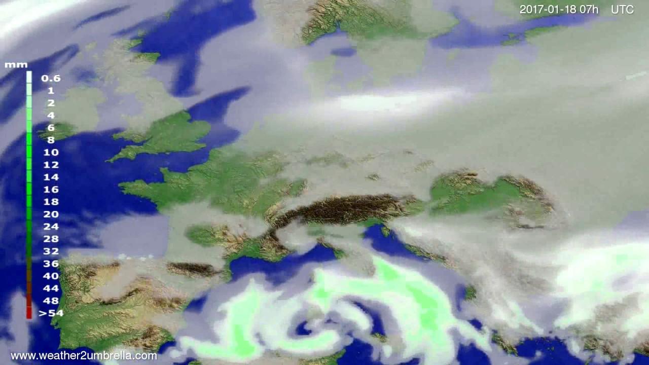 Precipitation forecast Europe 2017-01-14