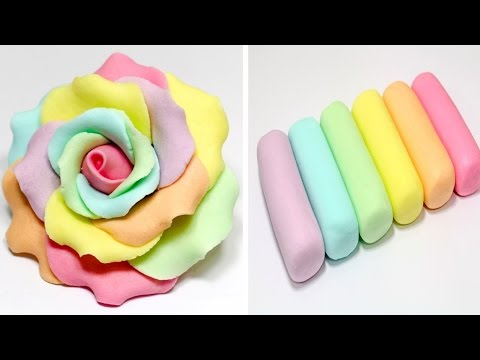 How To Make Marshmallow Fondant *How to make a RAINBOW ROSE FLOWER by CakesStepbyStep