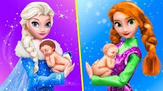 Elsa und Anna mit ihren Babys / 10 DIY Babypuppen Hacks und Handwerke