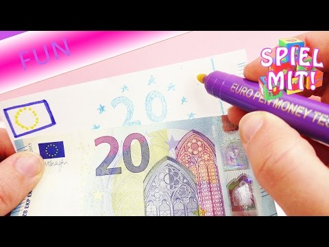 Ist der Geldschein echt oder gefälscht? Detektiv spielen mit Euro Stift Geld Tester