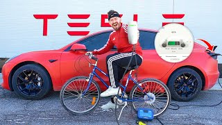 I Charged My Tesla With A BICYCLE!! (1,000 hours of biking)