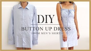 DIY Button Up Dress From Mens Shirt - Refashion Mens Shirt Idea