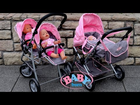 Baby Born Twin Jogger & Duplex Pram Dolls Pram Stroller Baby Annabell Baby Dolls