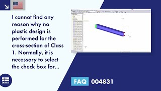 FAQ 004831 | I cannot find any reason why no plastic design is performed for the cross-section of Class 1. Normally, it is necessary to select the check box for elastic design.