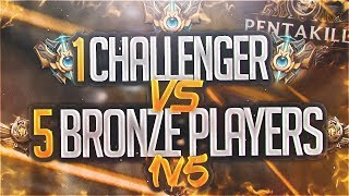 Yassuo | 1 CHALLENGER VS 5 BRONZE PLAYERS! 1V5!