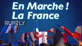 France: Macron supporters celebrate ahead of first round victory speech