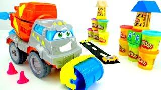 Мультик про машинки и игра в Play Doh. Весёлая Школа. Развивающее видео про строительные машины