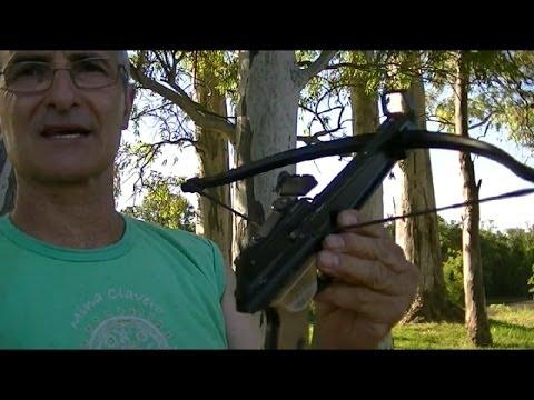 Practica de tiro  con Ballesta de puño--Practice shooting Crossbow fist