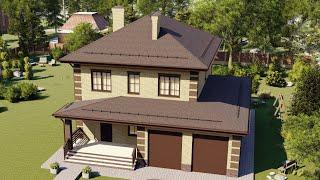 Проект дома 196-B, Площадь дома: 196 м2, Размер дома:  13,5x14,2 м