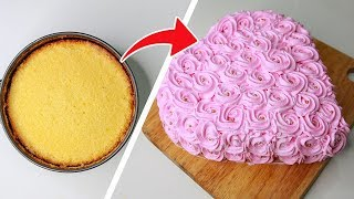Round Cake To Heart Shape Cake   Rosette Heart Cake   With Eggs / Eggless & Without Oven   Yummy